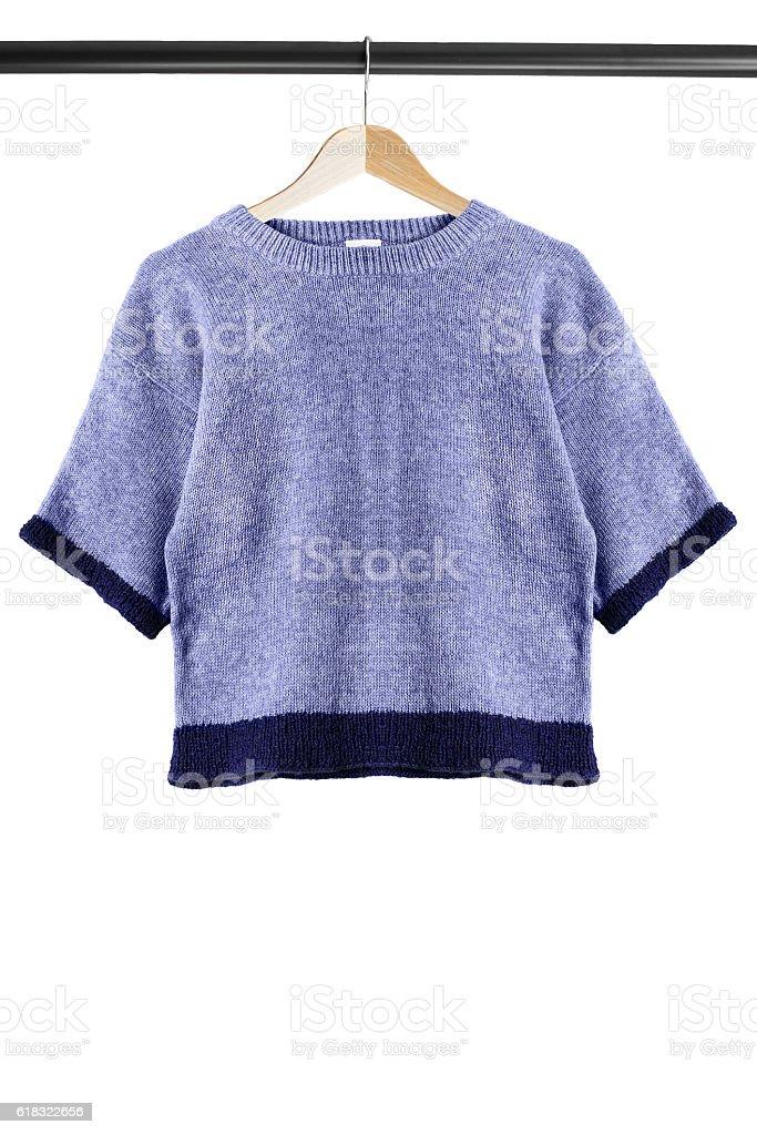Sweatshirt on clothes rack stock photo