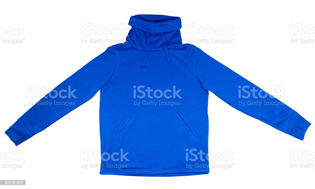 Sweatshirt with thick collar - blue stock photo