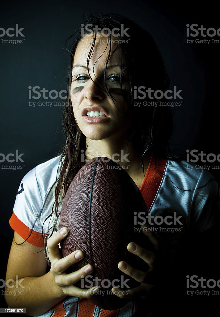 Sweaty football player royalty-free stock photo