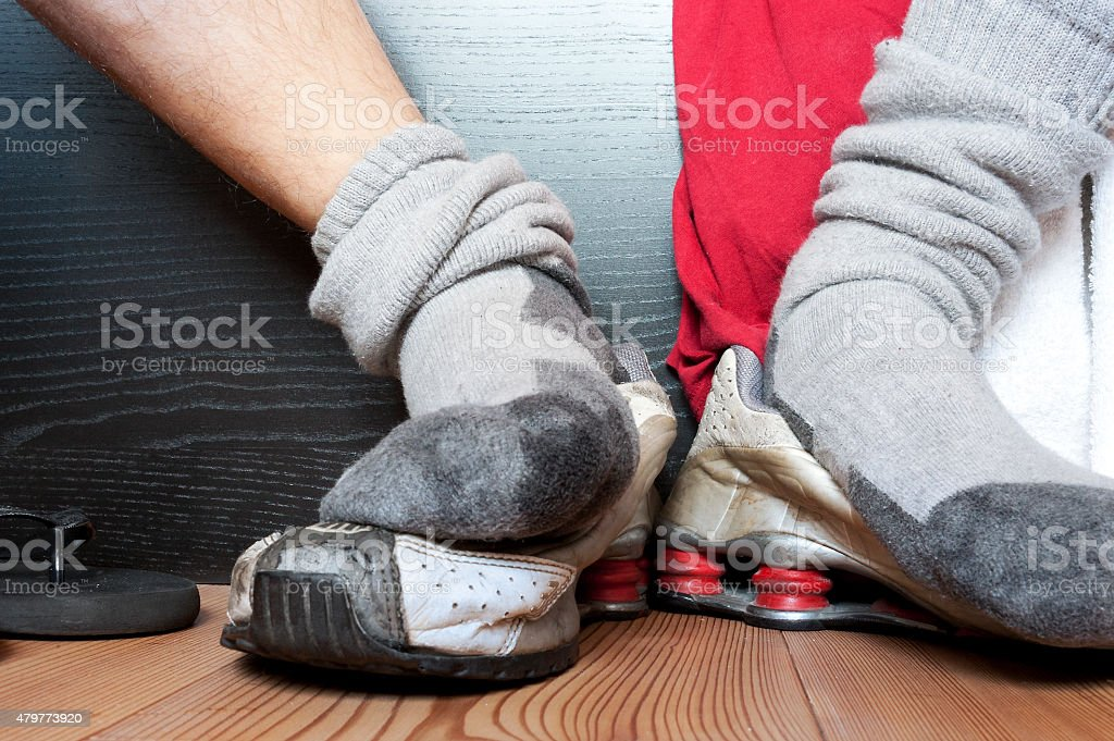 Sweaty smelly socks after gym stock photo