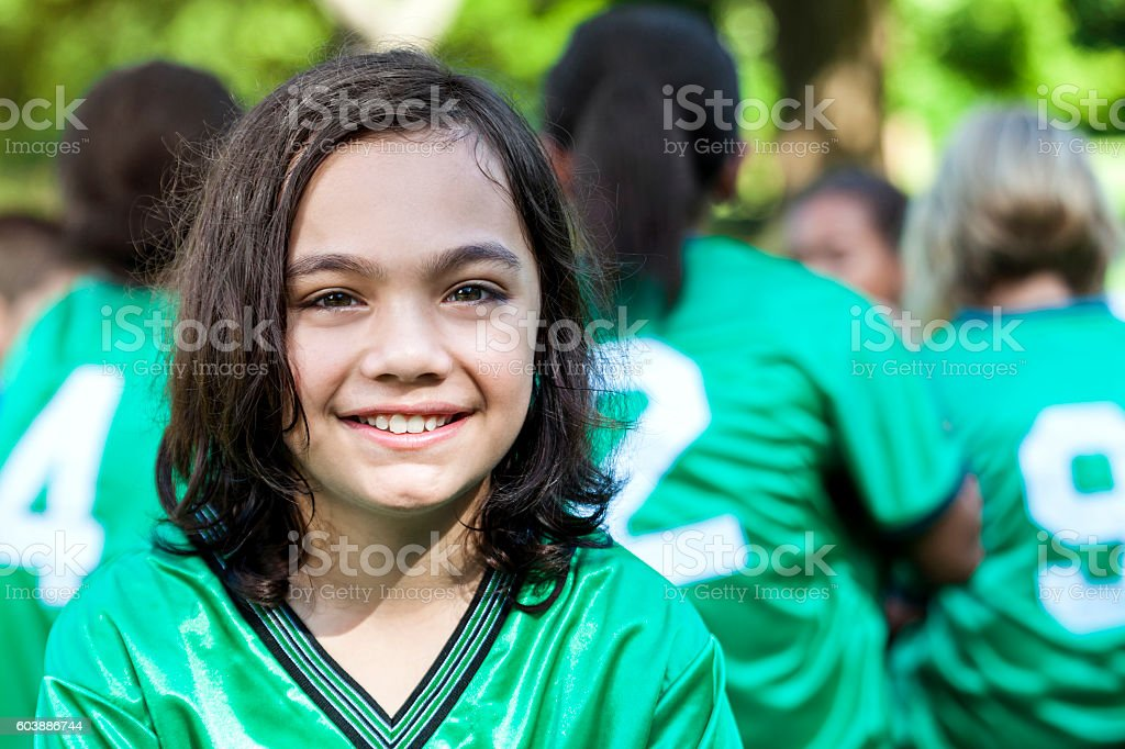 Sweaty soccer player after game stock photo
