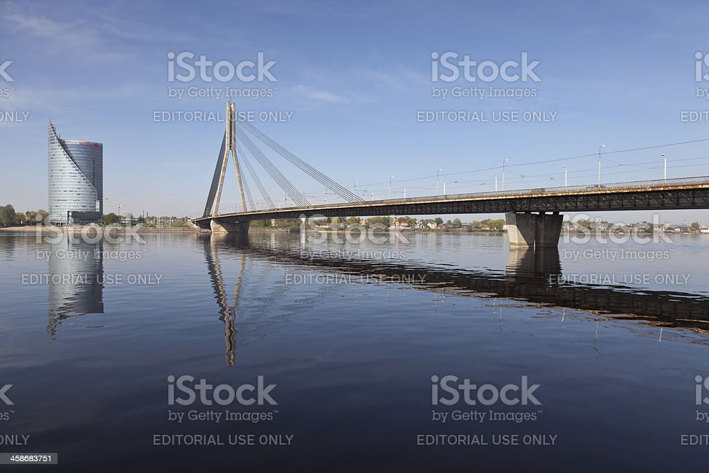 Swedbank Building and Vansu Bridge construction over Daugava River stock photo