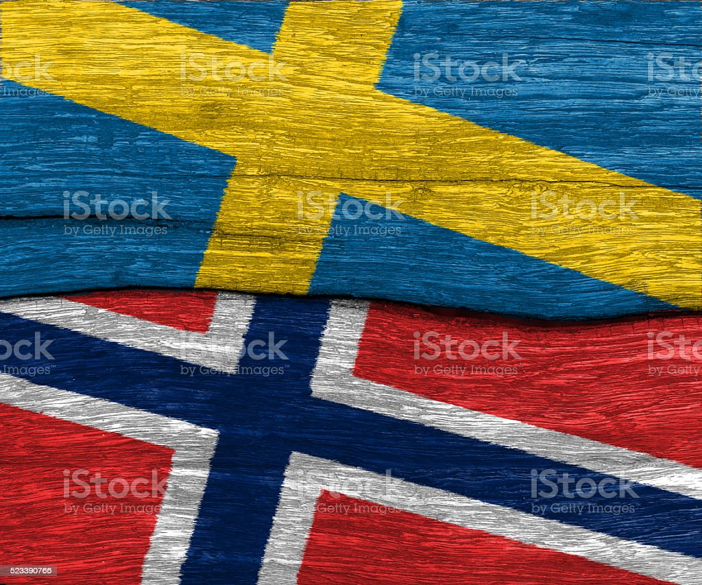 sweden and norway flag on wood stock photo