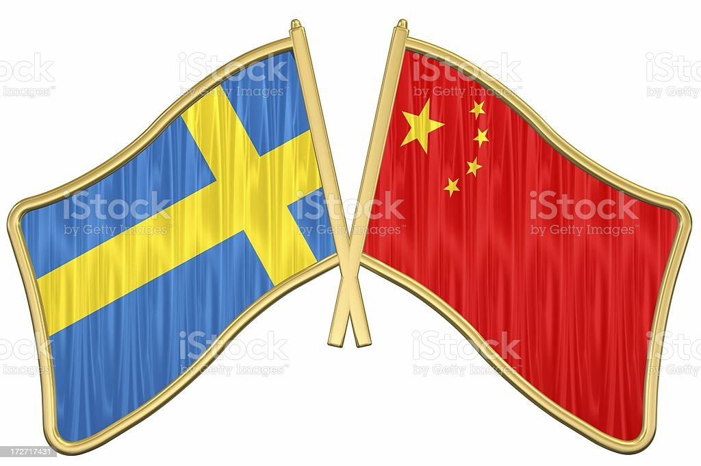 Sweden China Friendship Flag Pin royalty-free stock photo
