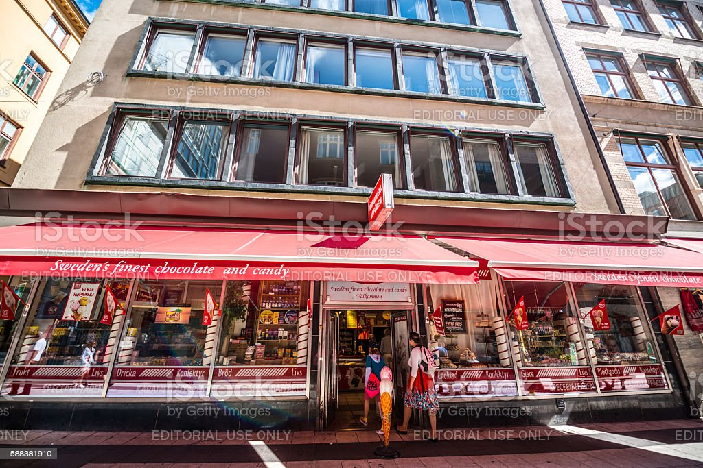 Sweden chocolate and candy Shop in Stockholm stock photo