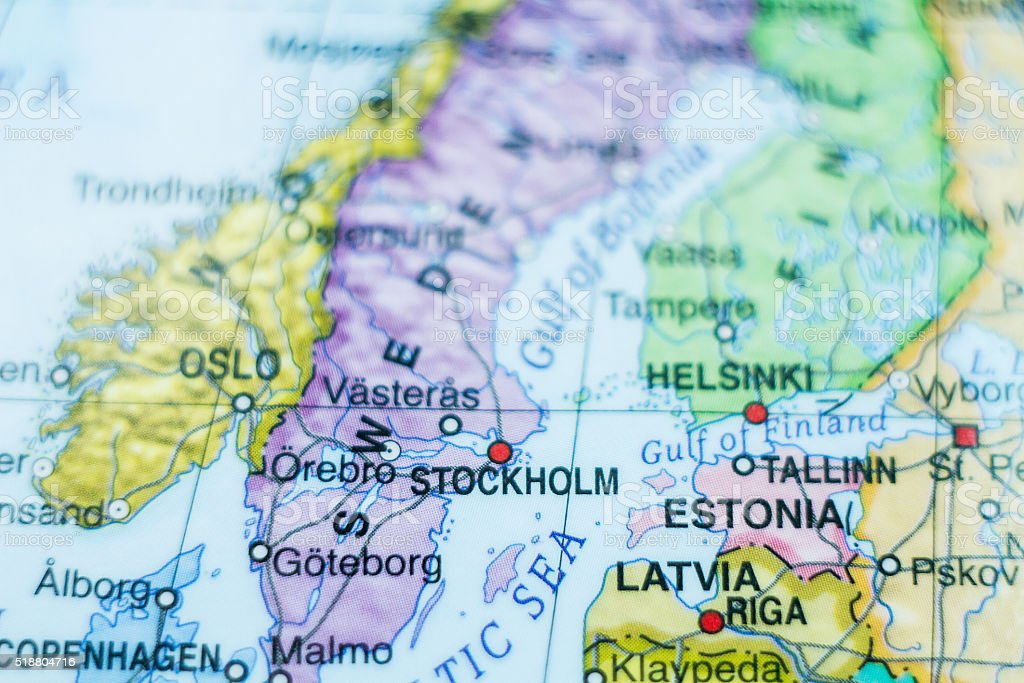 Sweden country map . stock photo