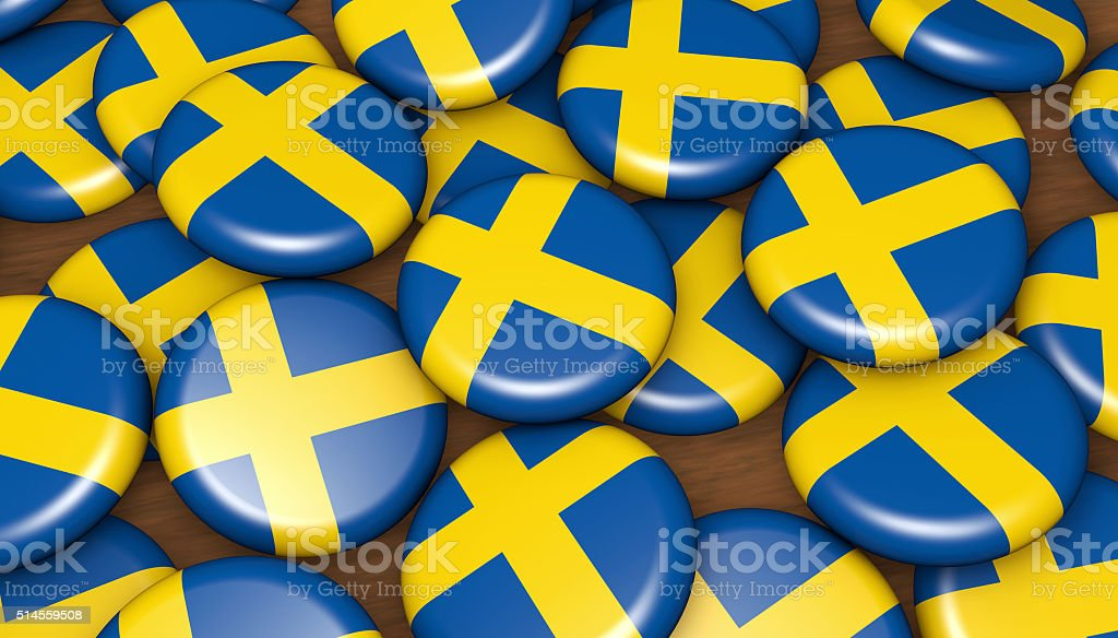 Sweden Flag Badges Background stock photo