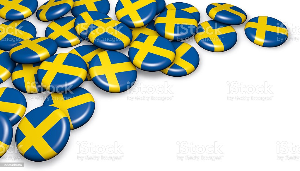Sweden Flag Button Badges stock photo