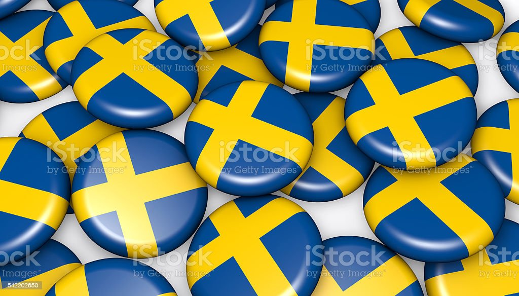 Sweden Flag On Badges Background stock photo