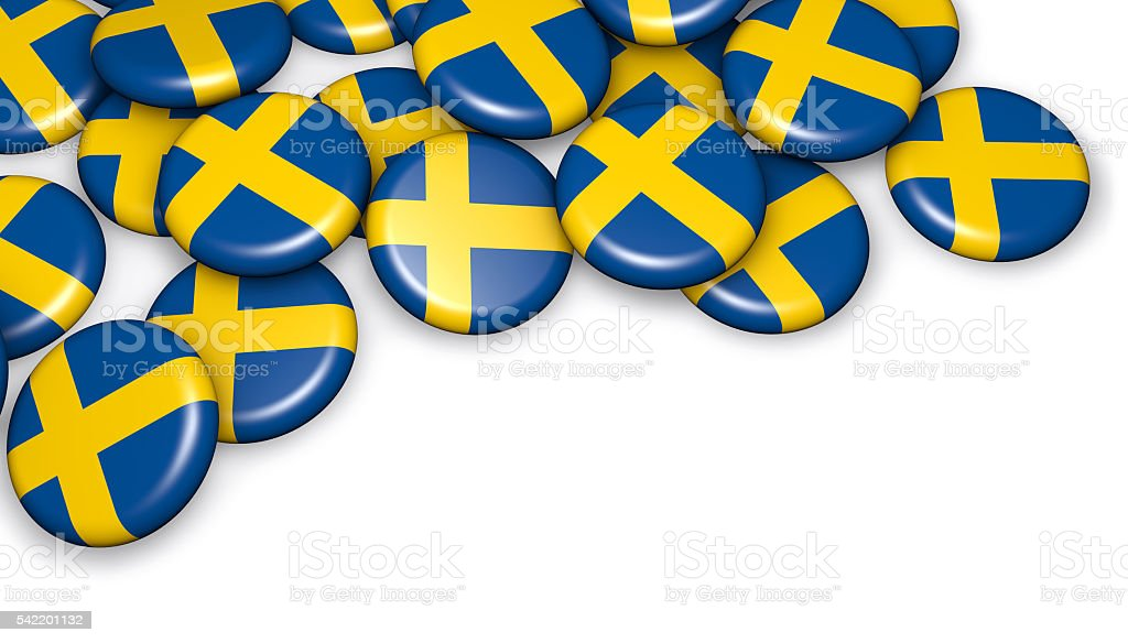 Sweden Flag On Buttons Badges stock photo