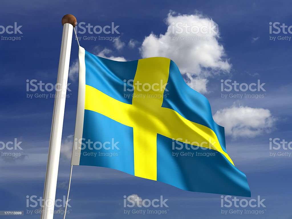 Sweden flag (with clipping path) stock photo