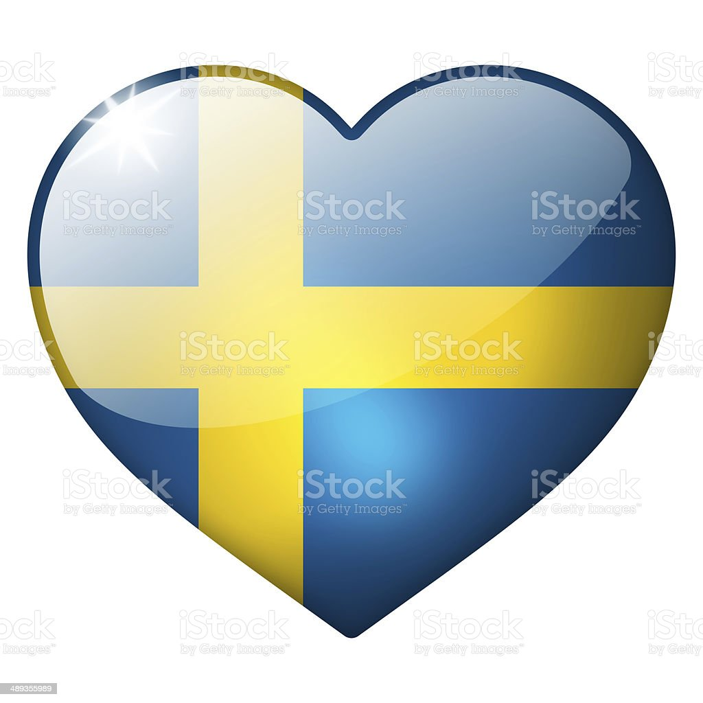 sweden heart button stock photo