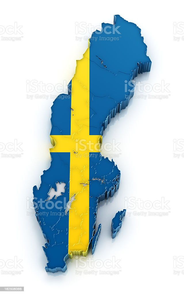 Sweden map filled with the country's flag royalty-free stock photo