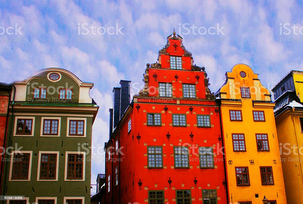 Sweden Old HOuses stock photo