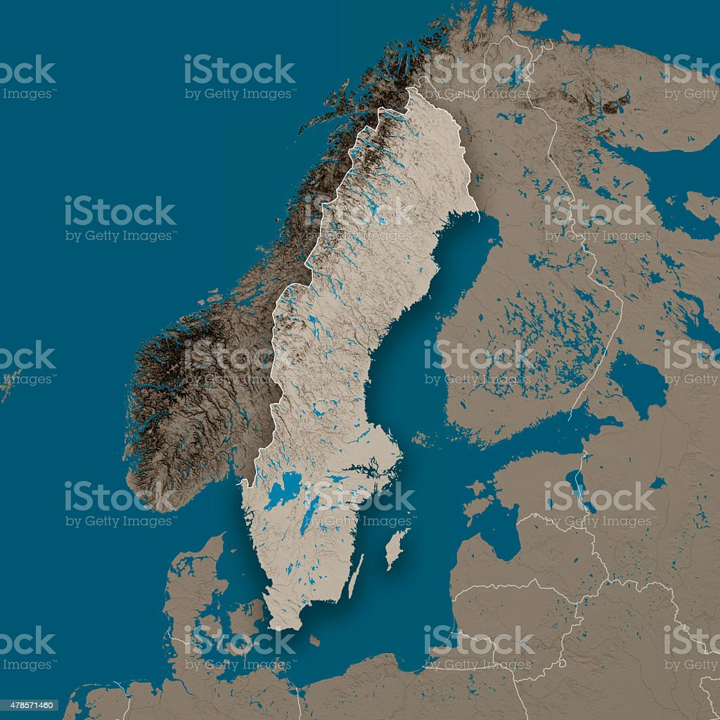 Sweden Topographic Country Map Gray stock photo