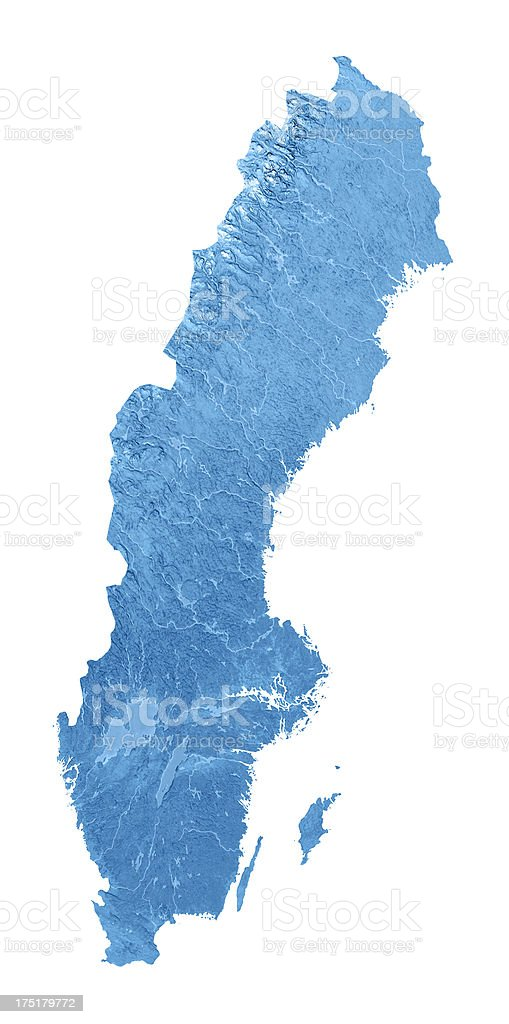 Sweden Topographic Map Isolated stock photo