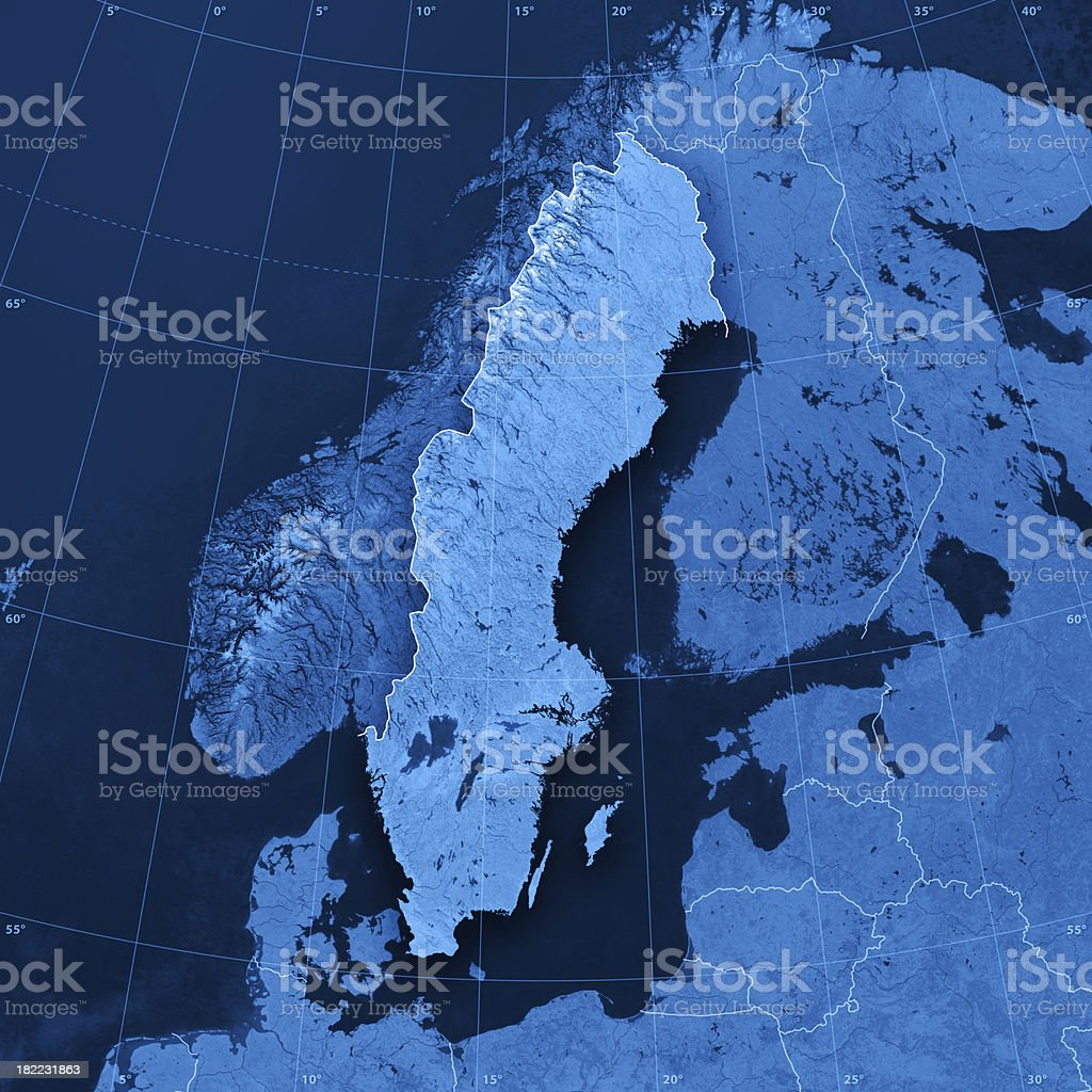Sweden Topographic Map royalty-free stock photo