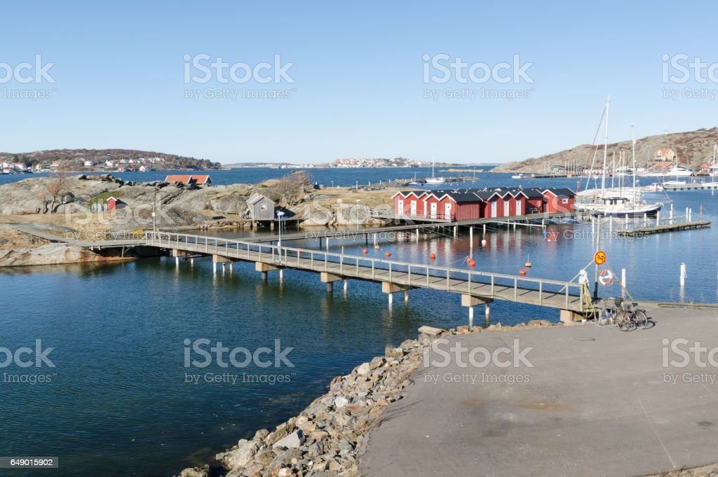 sweden westcoast outside Gothenburg beutiful little harbour stock photo