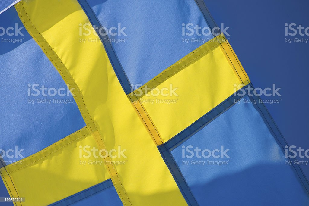 Sweden's yellow and blue flag royalty-free stock photo