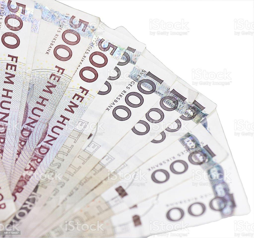 Swedish 500 and 1000 kronor bills stock photo