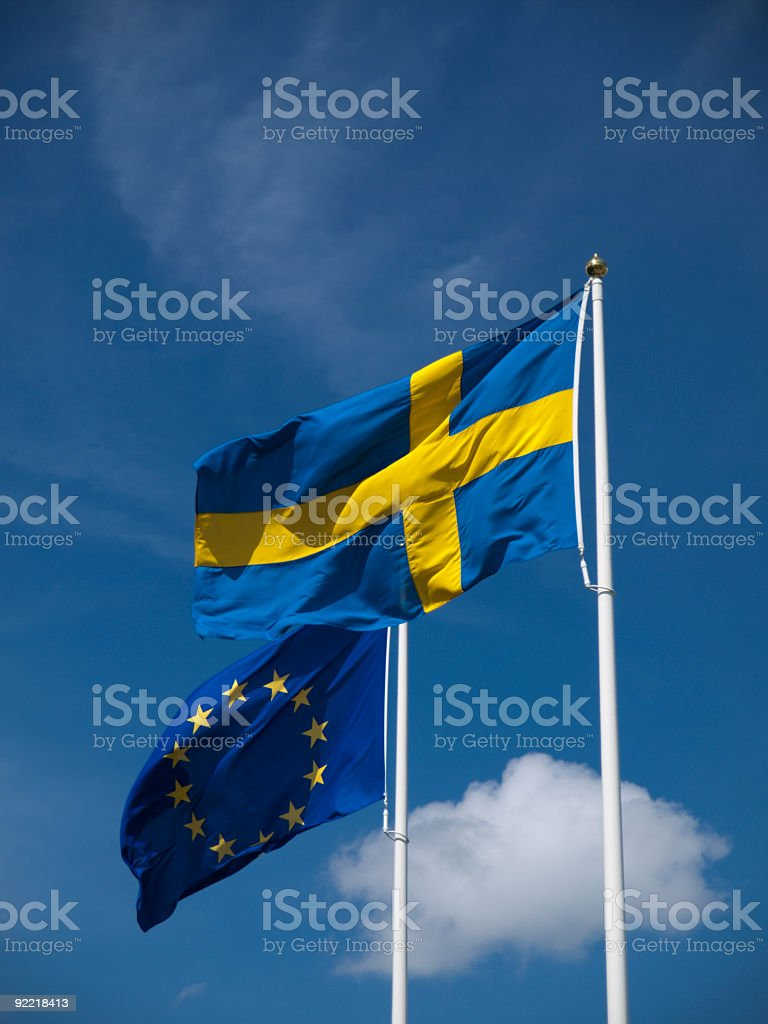 Swedish and EU flag royalty-free stock photo