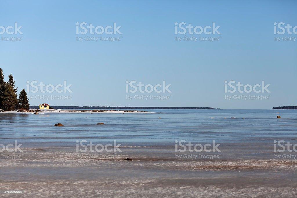 Swedish archipelago in winter royalty-free stock photo