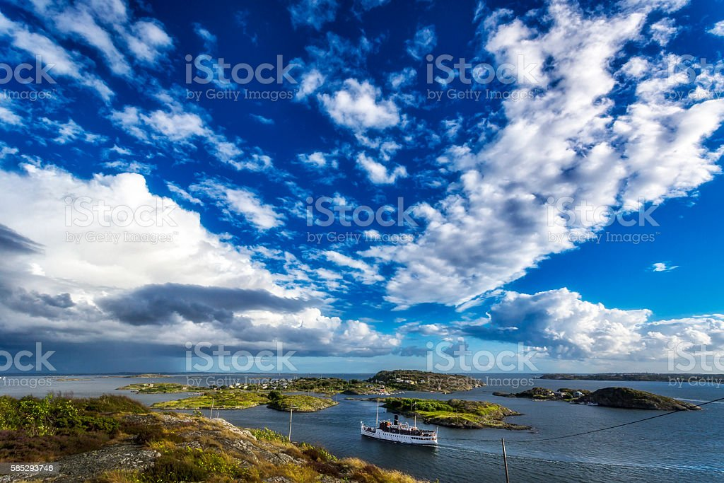 Swedish archipelago under a bright summer sky stock photo