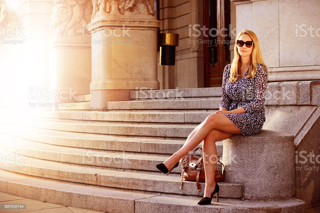 Swedish blonde business woman enjoying the warm evening stock photo