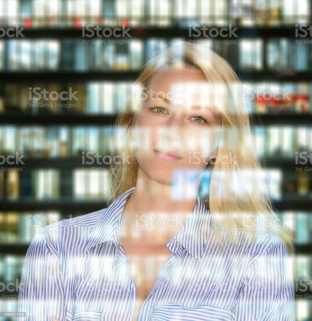 Swedish blonde business woman portrait, skyscraper reflection stock photo