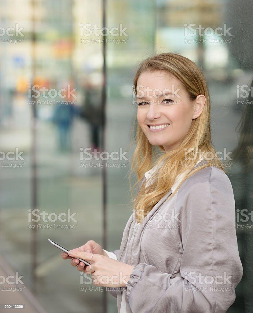 Swedish blonde woman on Sergels Torg, Stockholm stock photo