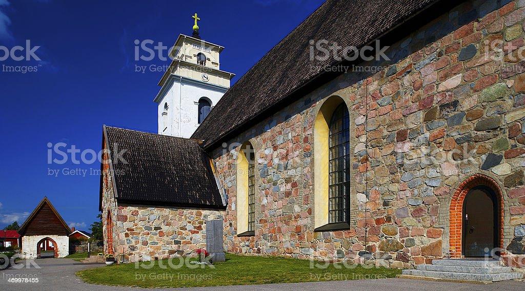 Swedish church lappland stock photo