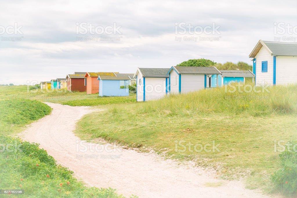 Swedish coastal cabins stock photo