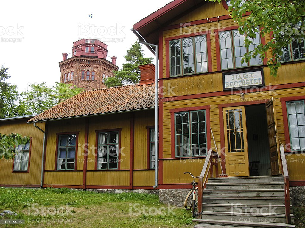 Swedish colored cabin royalty-free stock photo