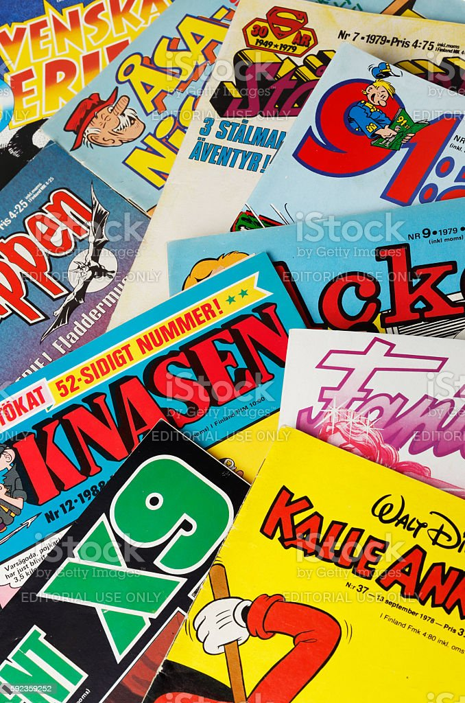 Swedish comic magazines stock photo