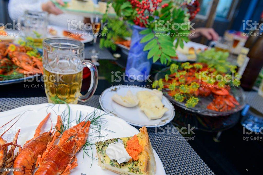 Swedish crayfish party stock photo