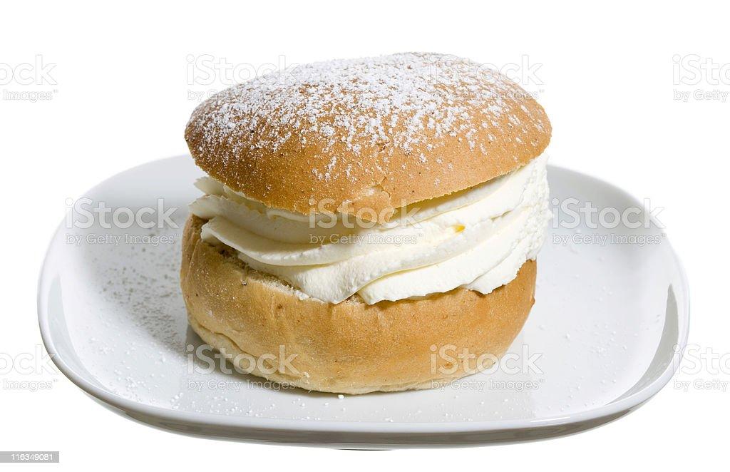 Swedish cream bun (semla) stock photo