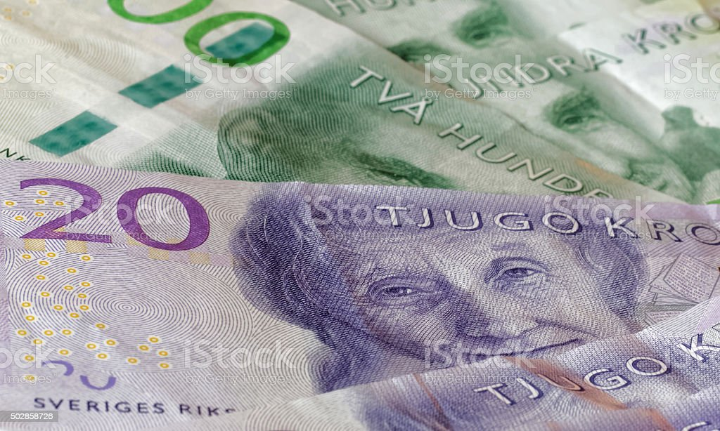 Swedish currency, 20 SEK and 200 SEK, new layout 2015 stock photo