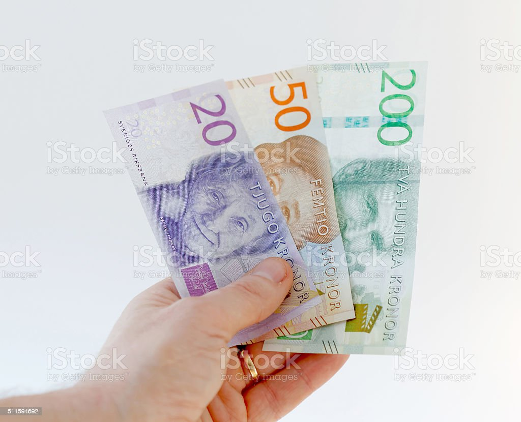 Swedish currency, 20 , 50  and 200 SEK, new layout 2015 stock photo