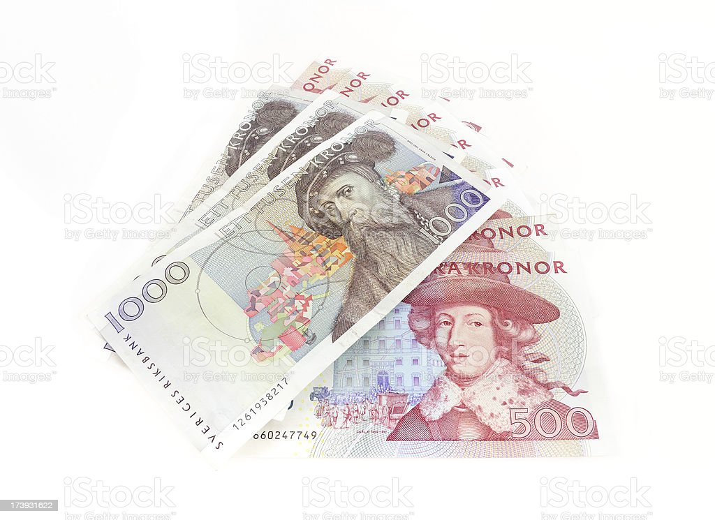 Swedish currency 500 kronor and 1000 SEK stock photo