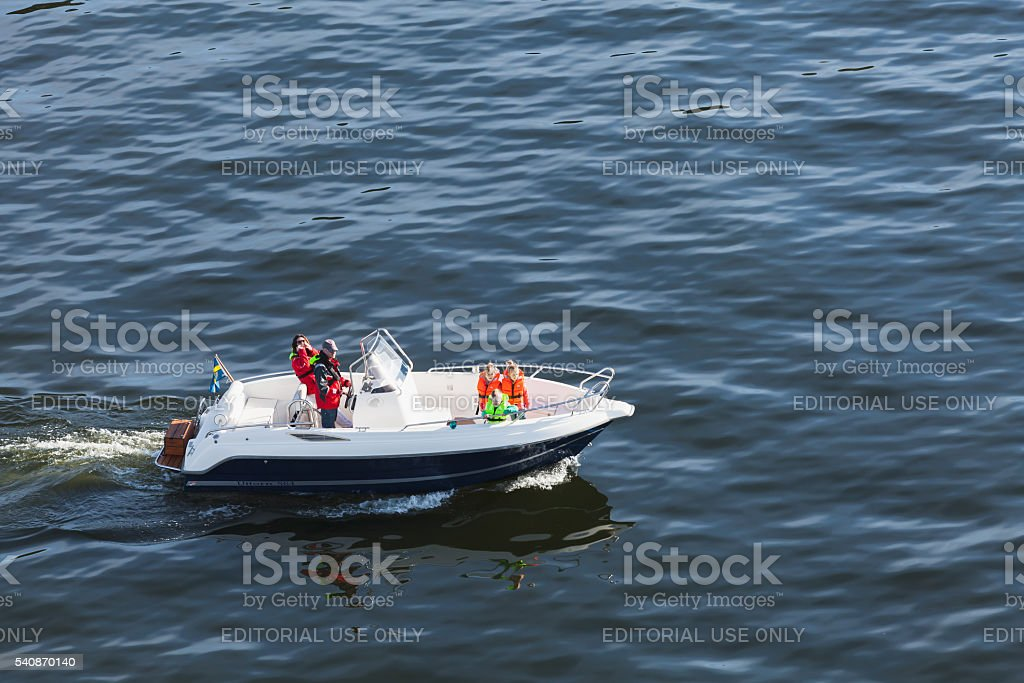 Swedish family does a boat trip stock photo