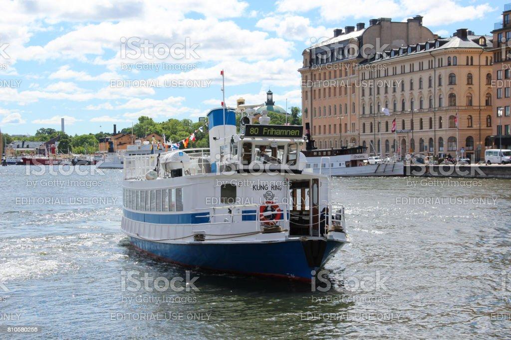 Swedish ferry passenger ship with a smokestack. stock photo