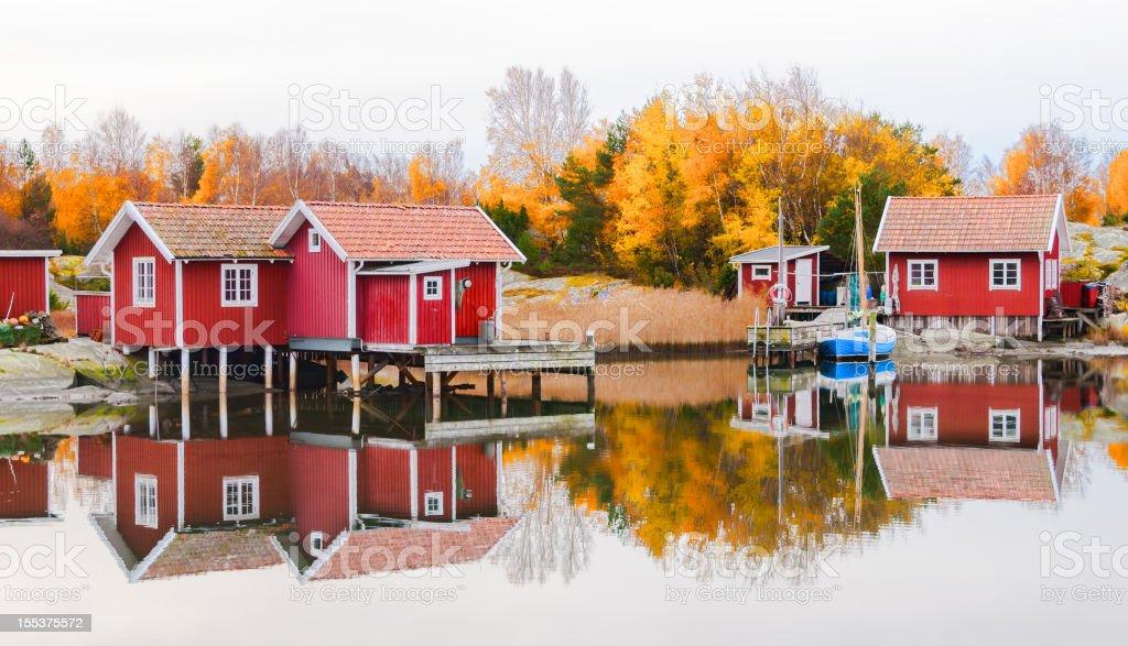 Swedish Fishing Huts royalty-free stock photo