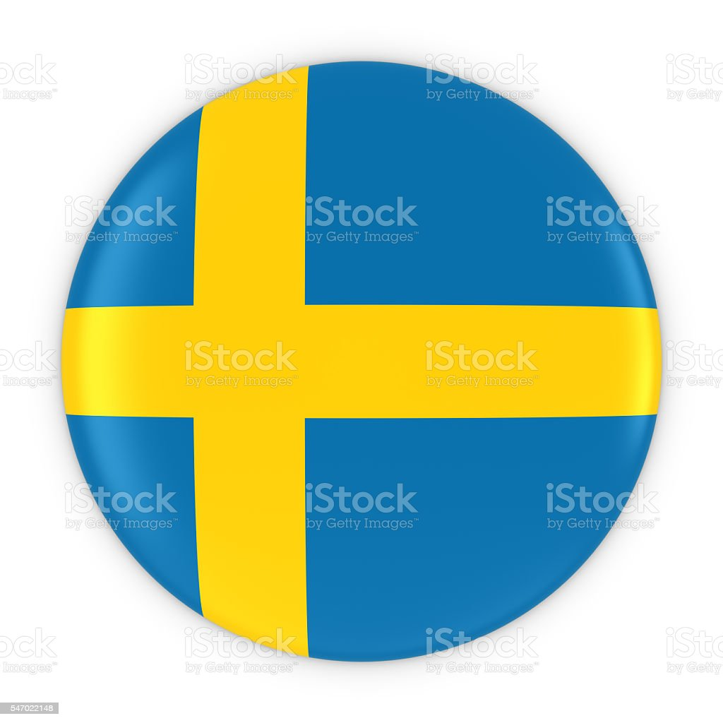 Swedish Flag Button - Flag of Sweden Badge 3D Illustration stock photo