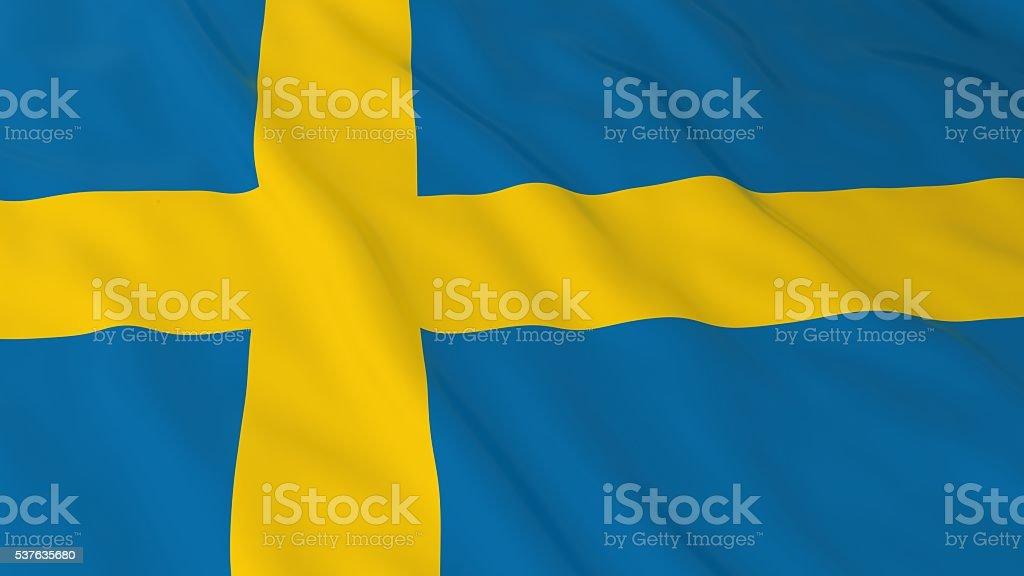 Swedish Flag HD Background - Flag of Sweden 3D Illustration stock photo