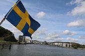 Swedish flag in Gothenburg, Sweden Scandinavia