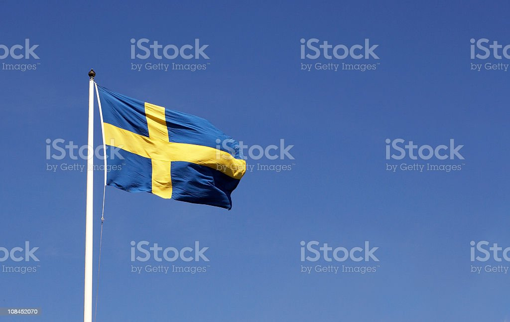 Swedish flag in the sky stock photo