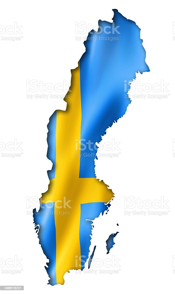 Swedish flag map stock photo