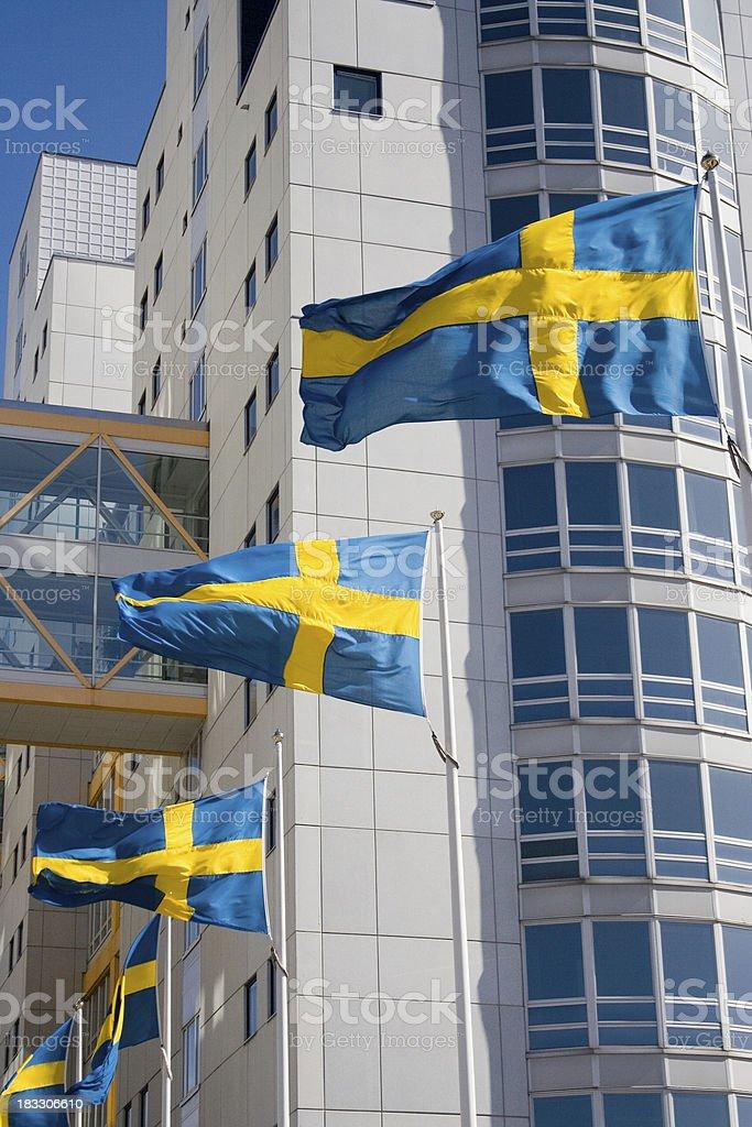 Swedish flags royalty-free stock photo