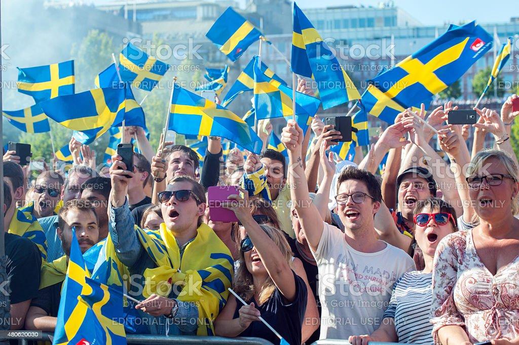 Swedish football fans celebrate the European champions stock photo