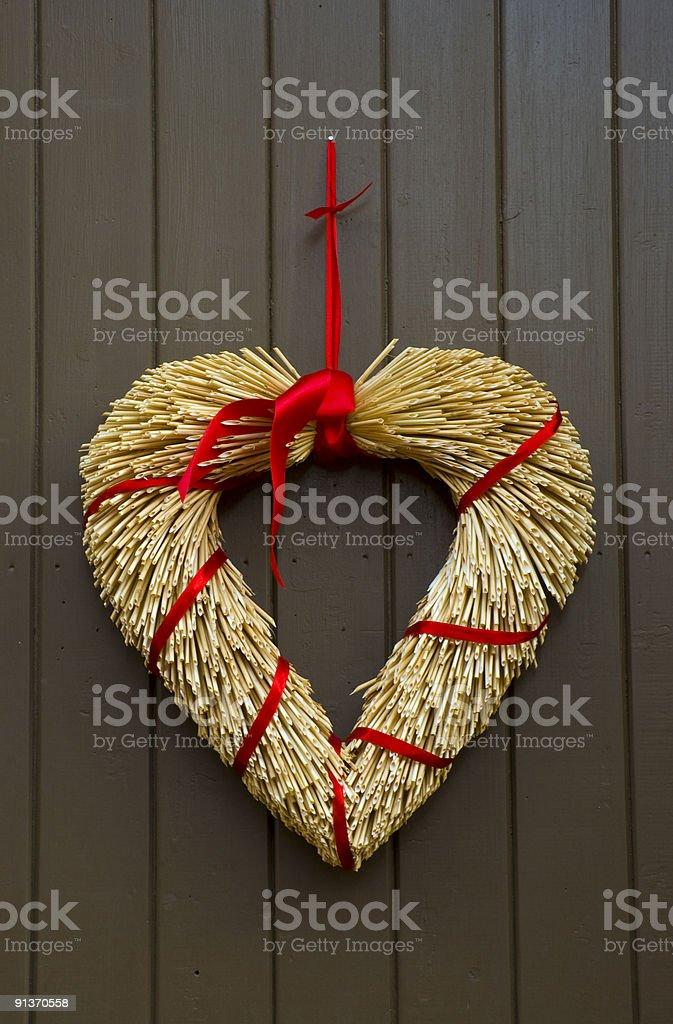 Swedish Heart Christmas (Xmas) Festive Door Decoration, Stockholm, Sweden. royalty-free stock photo
